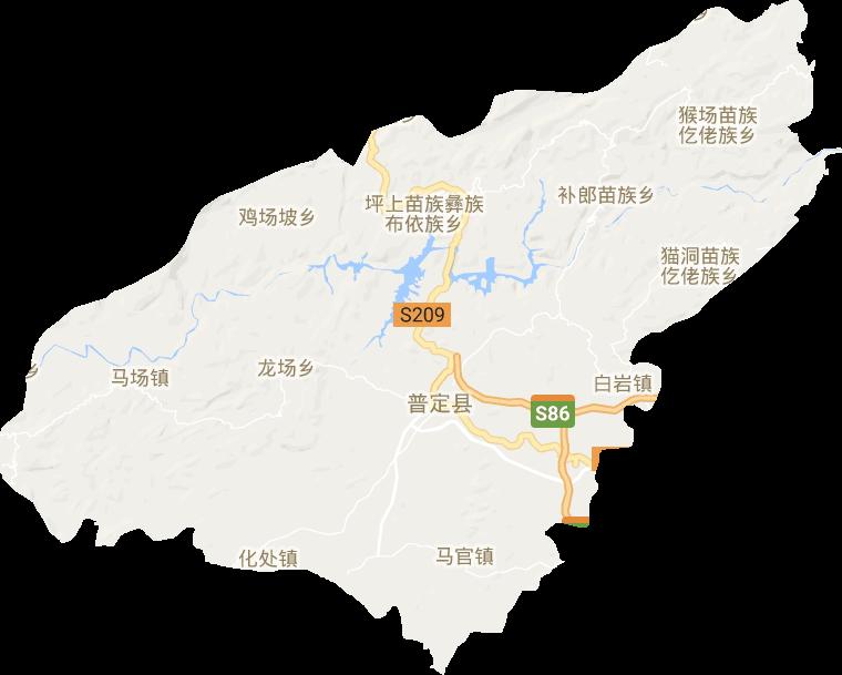 猴场苗族布依族乡_普定县高清电子地图,普定县高清谷歌电子地图