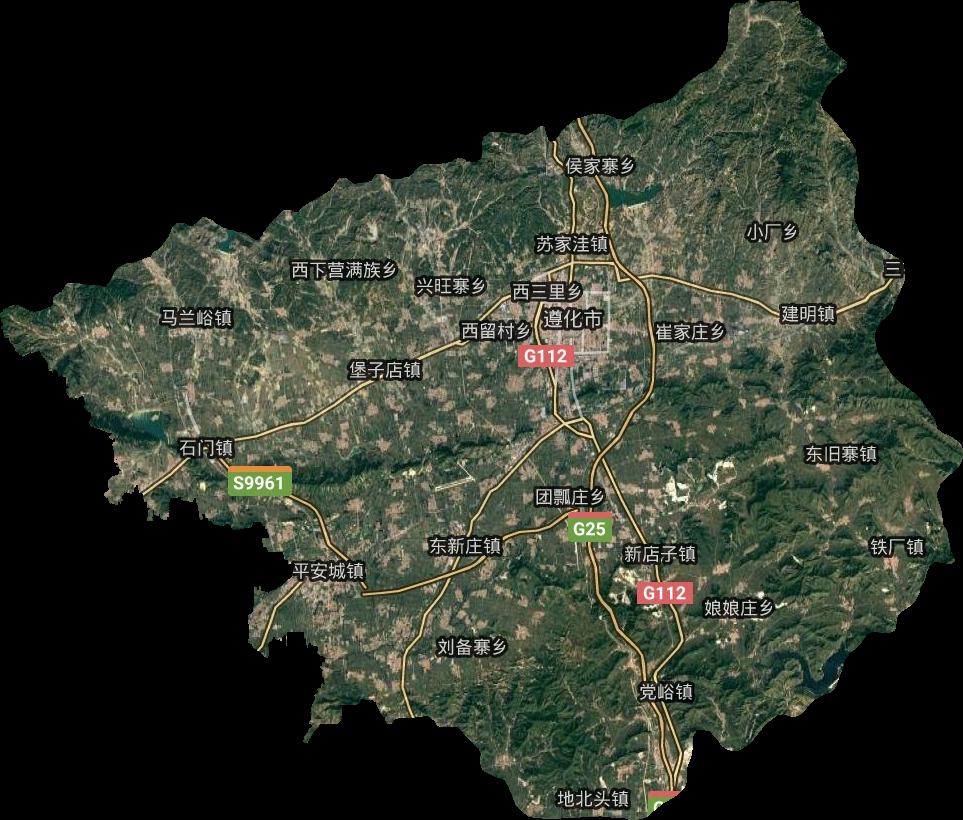 遵化市高清卫星地图,遵化市高清谷歌卫星地图